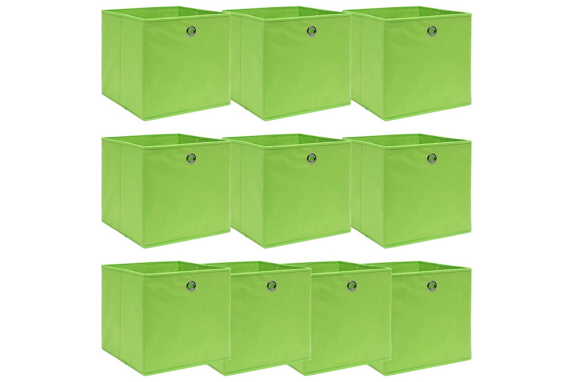 Förvaringslådor 10 st grön 32x32x32 cm tyg, Förvaringslådor & korgar