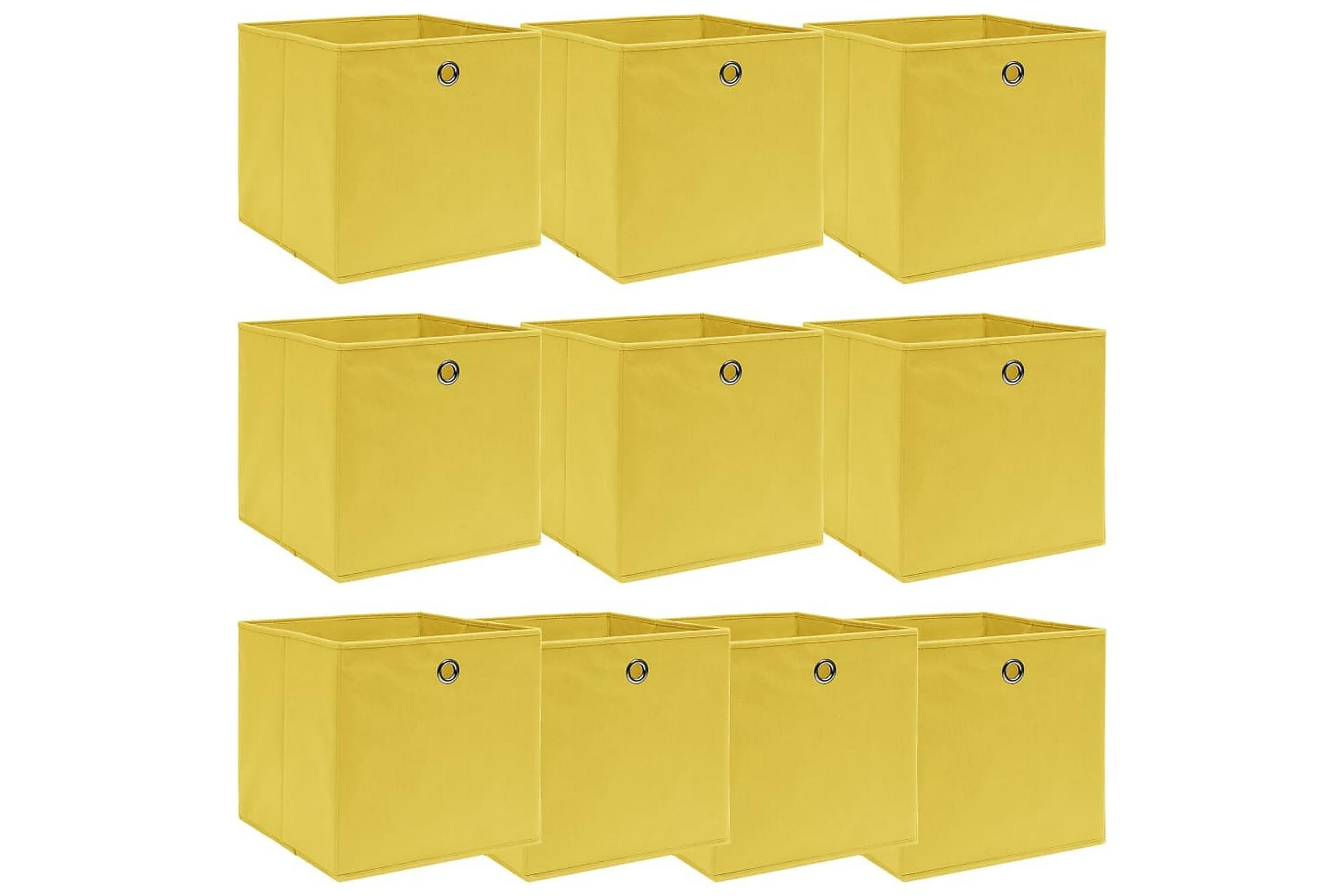 Förvaringslådor 10 st gul 32x32x32 cm tyg, Förvaringslådor & korgar