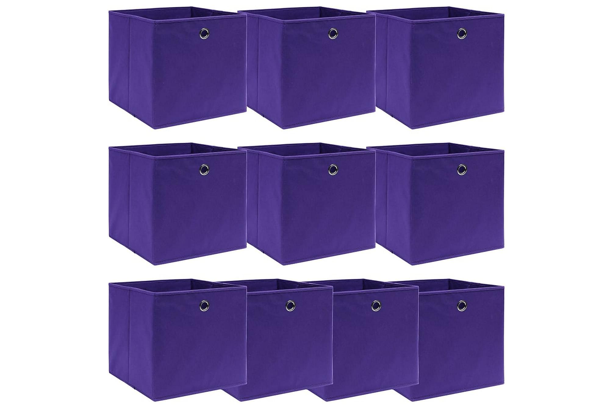 Förvaringslådor 10 st lila 32x32x32 cm tyg, Förvaringslådor & korgar