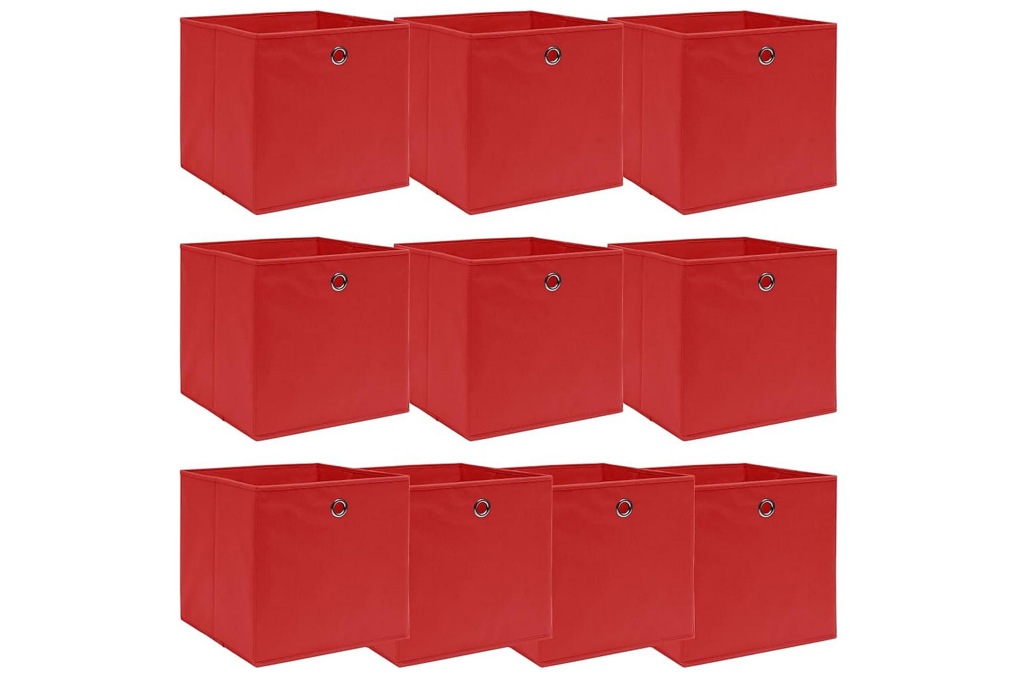 Förvaringslådor 10 st röd 32x32x32 cm tyg, Förvaringslådor & korgar