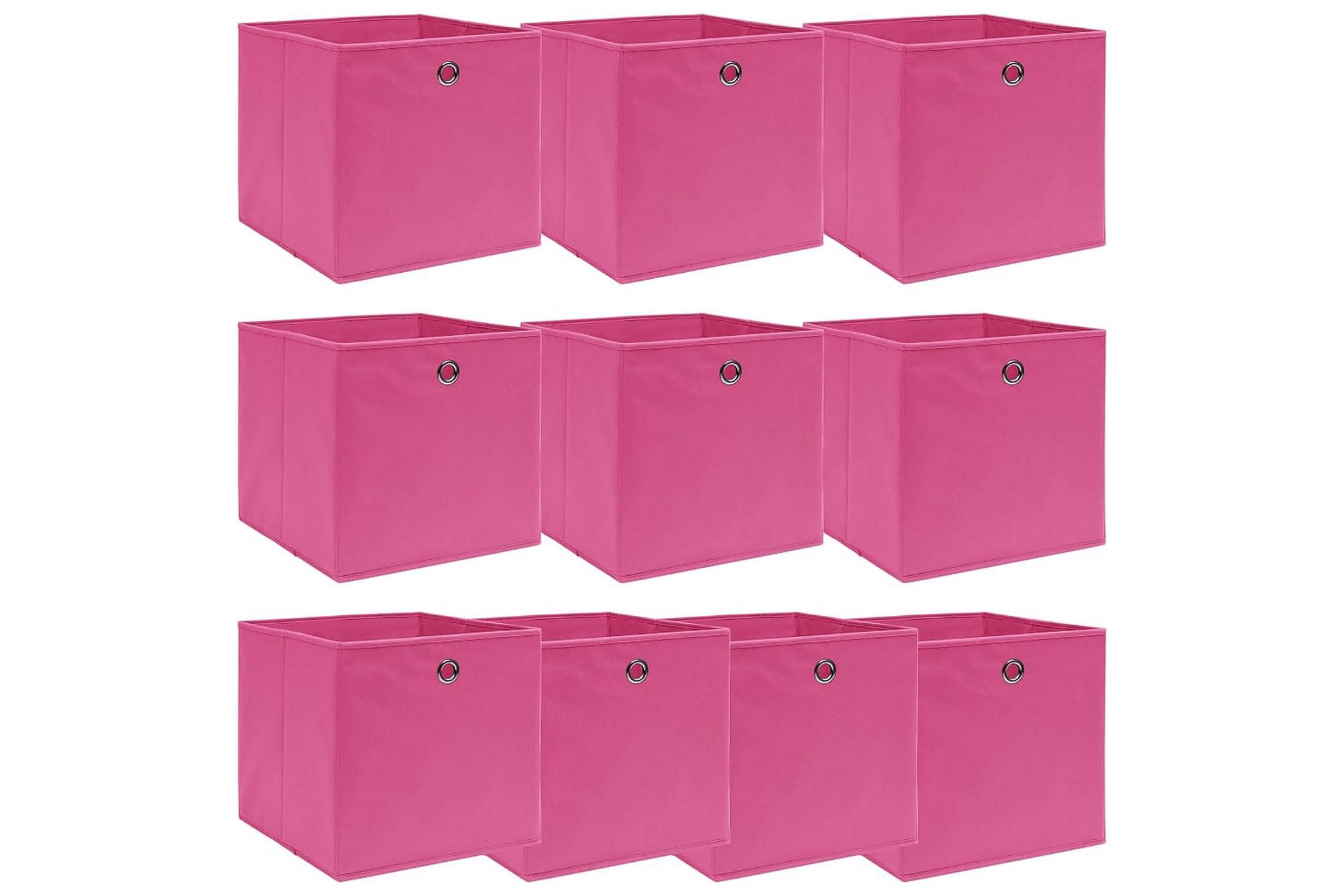 Förvaringslådor 10 st rosa 32x32x32 cm tyg, Förvaringslådor & korgar