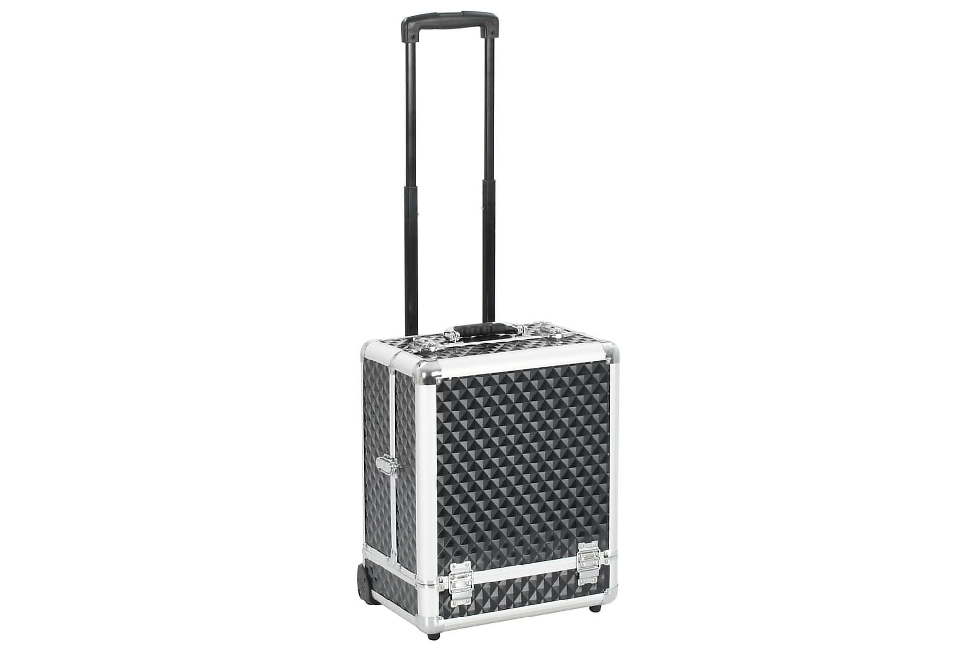 Sminkresväska 35x29x45 cm svart aluminium