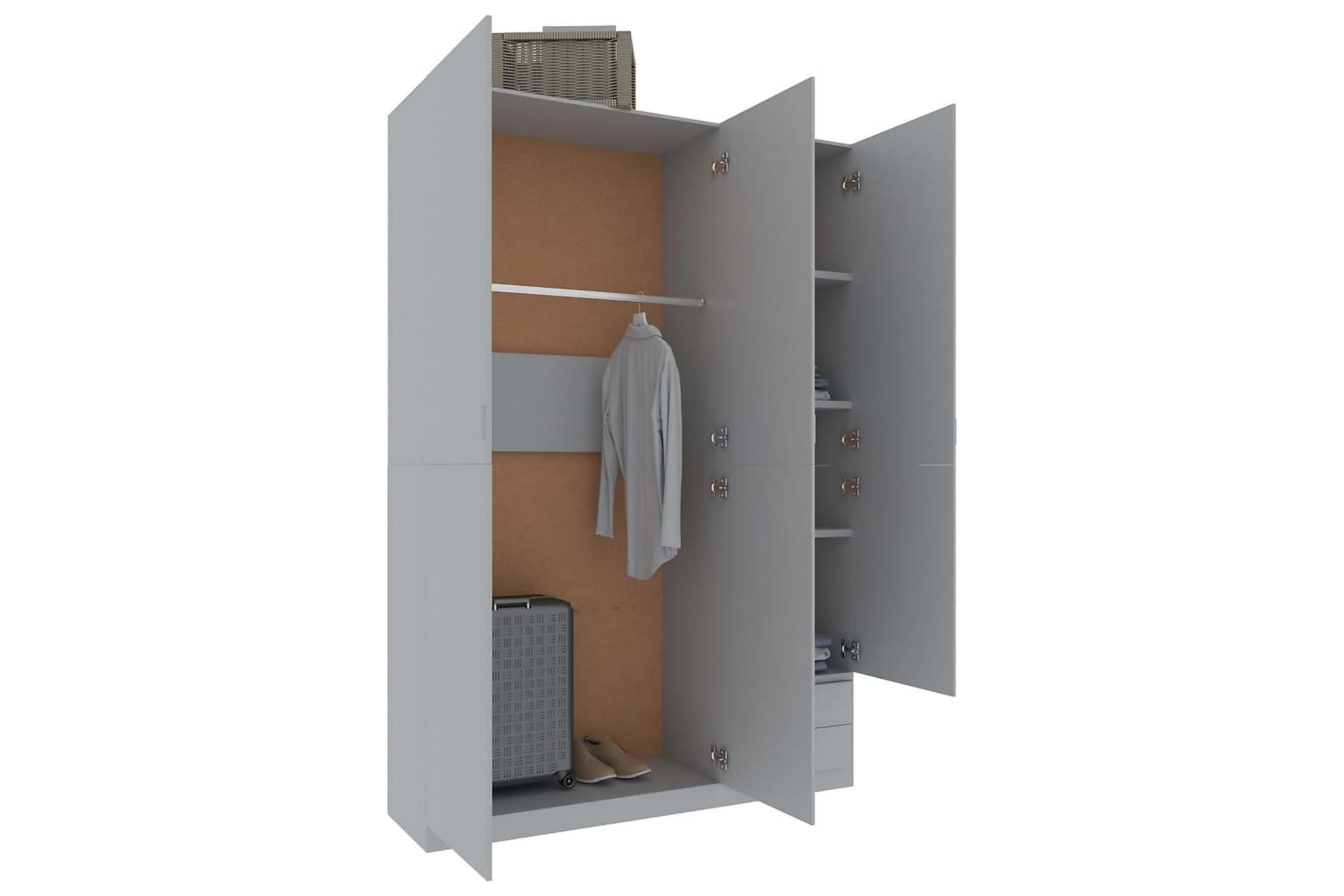 Garderob 3 dörrar grå 120x50x180 cm spånskiva