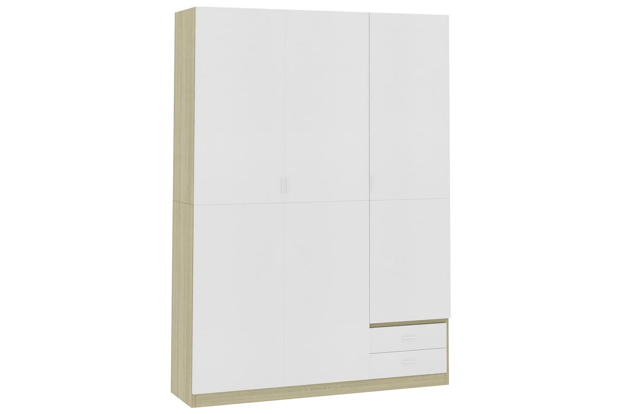 Garderob 3 dörrar vit och sonoma-ek 120x50x180 cm spånskiva
