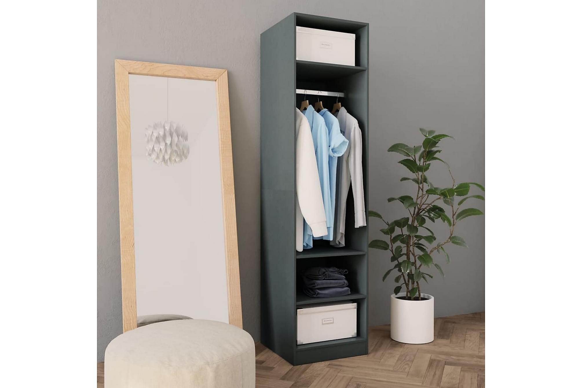 Garderob grå 50x50x200 cm spånskiva