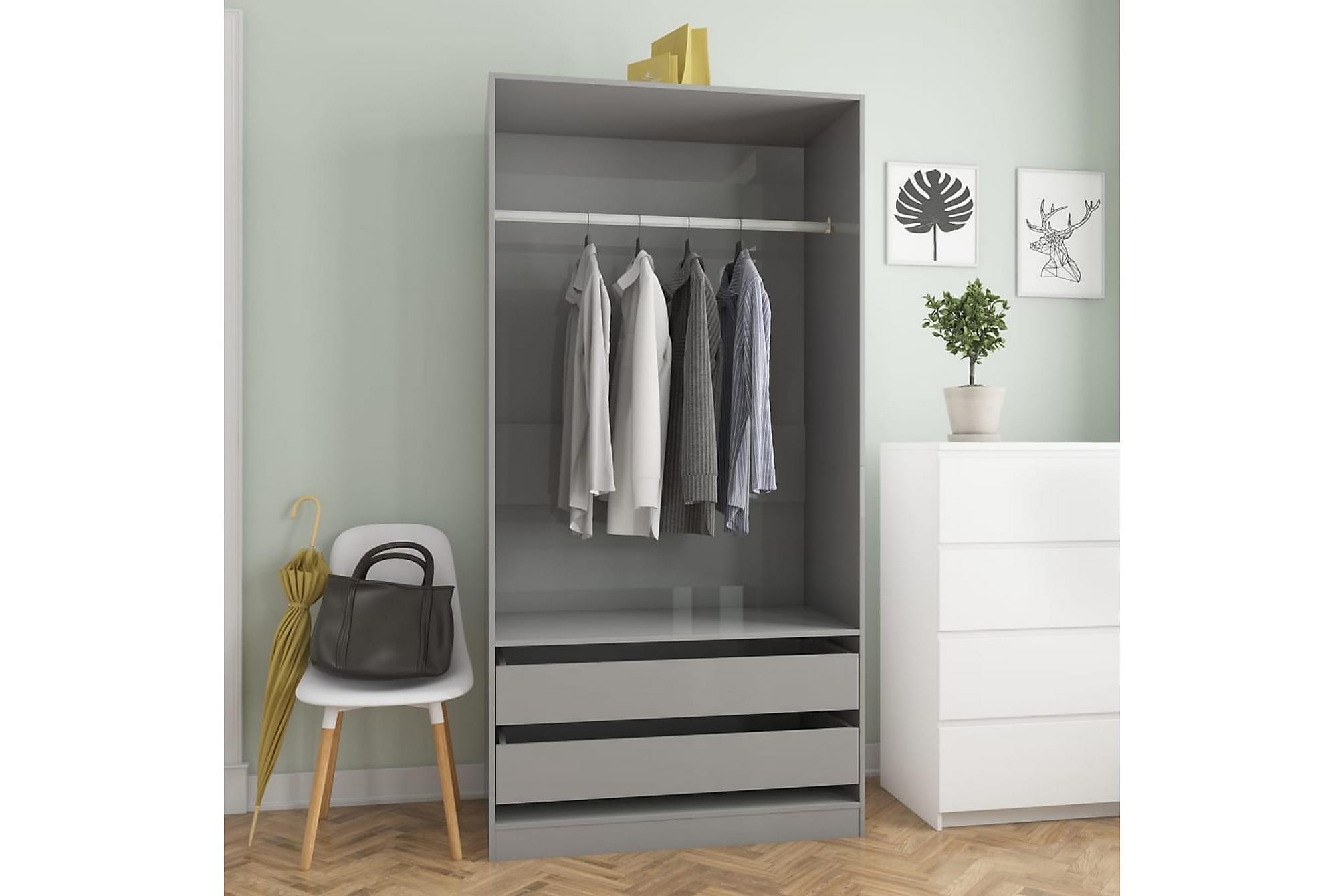 Garderob grå högglans 100x50x200 cm spånskiva