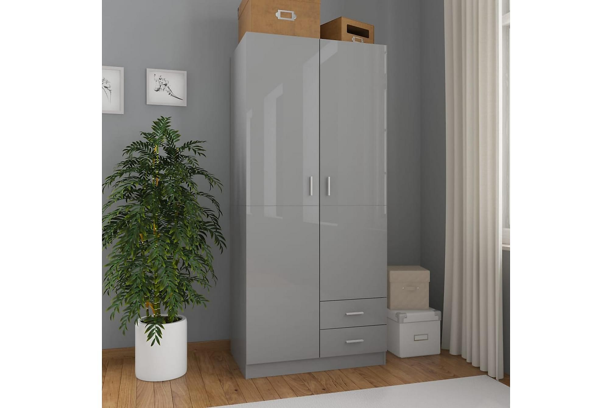 Garderob grå högglans 80x52x180 cm spånskiva