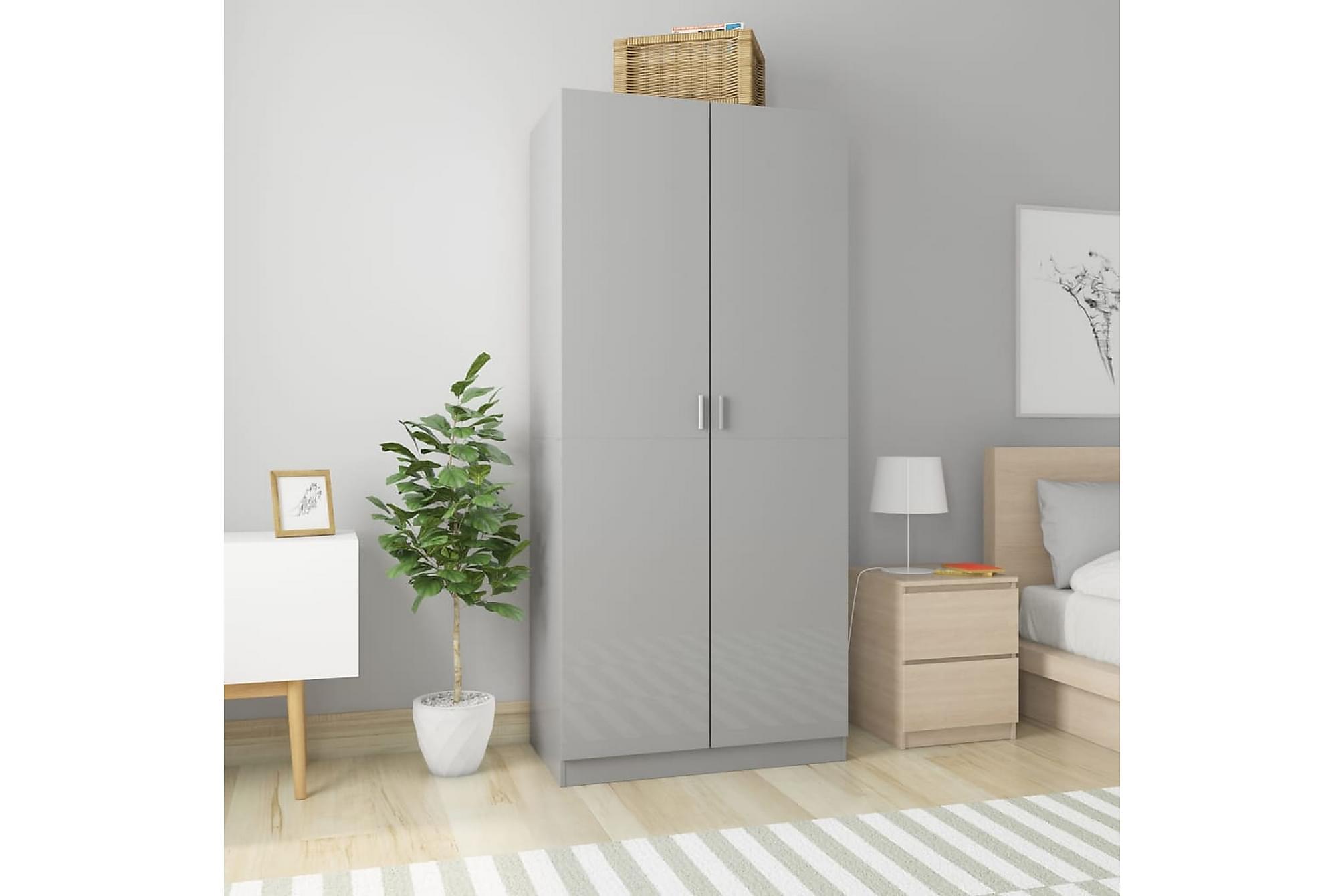 Garderob grå högglans 90x52x200 cm spånskiva