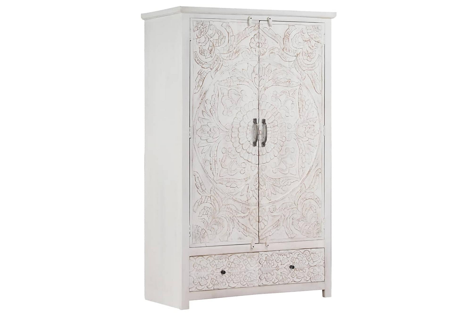 Garderob handgjord vit 110x56x183 cm massivt akaciaträ