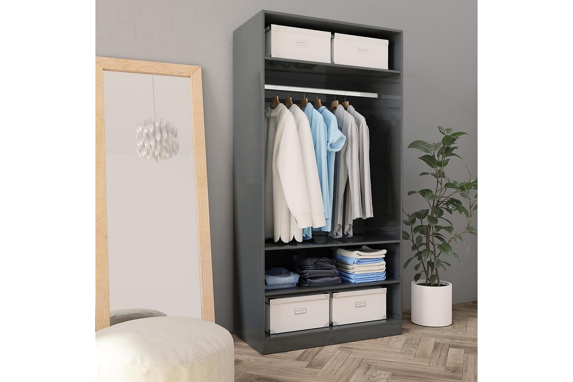 Garderob högglans grå 100x50x200 cm spånskiva