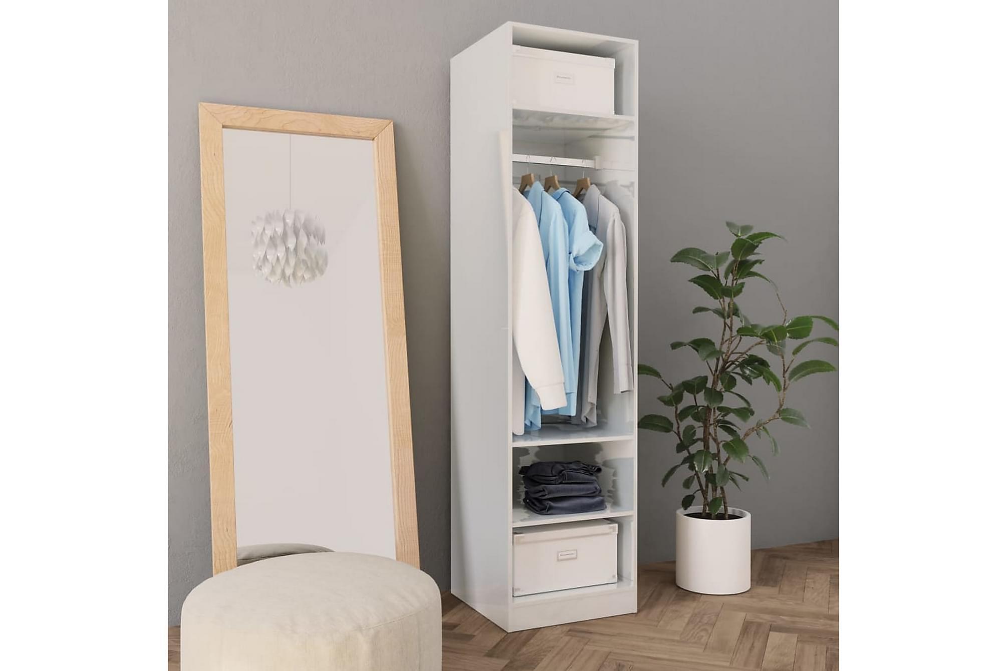 Garderob högglans vit 50x50x200 cm spånskiva