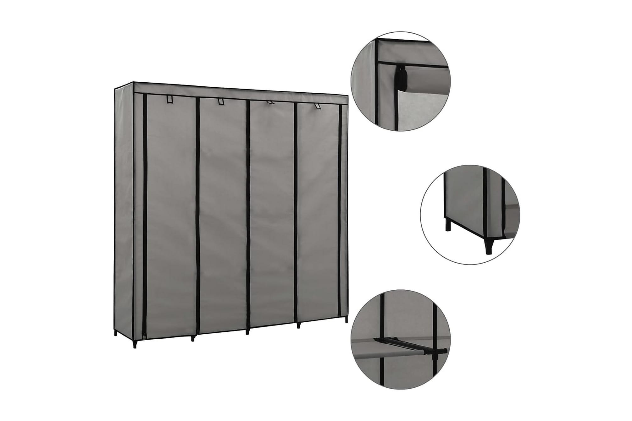 Garderob med 4 fack grå 175x45x170 cm
