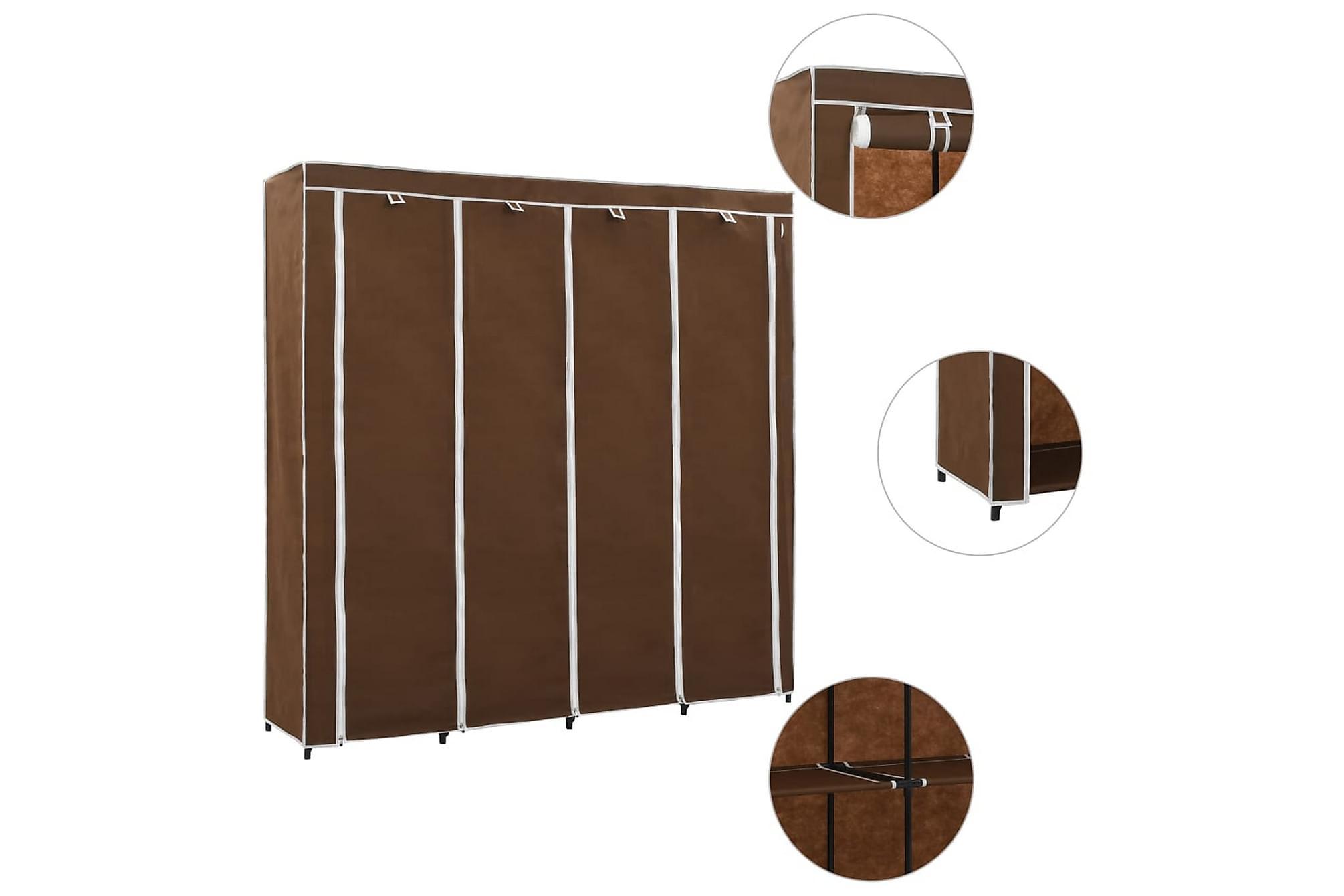 Garderob med 4 utrymmen brun 175x45x170 cm