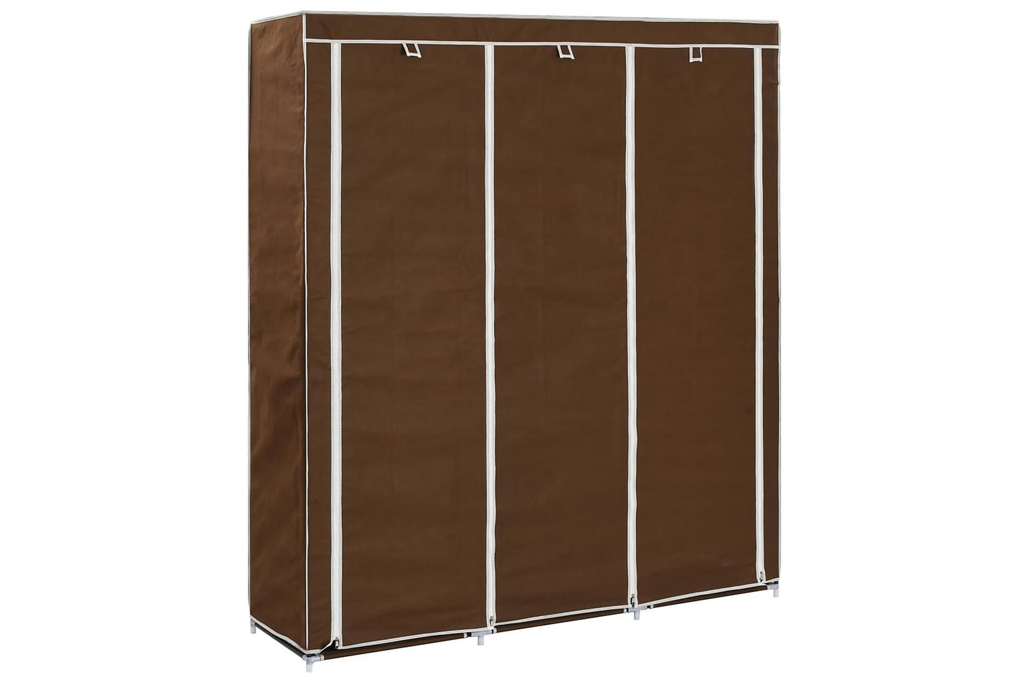 Garderob med fack och stänger brun 150x45x175 cm tyg
