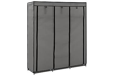 Garderob med fack och stänger grå 150x45x175 cm tyg
