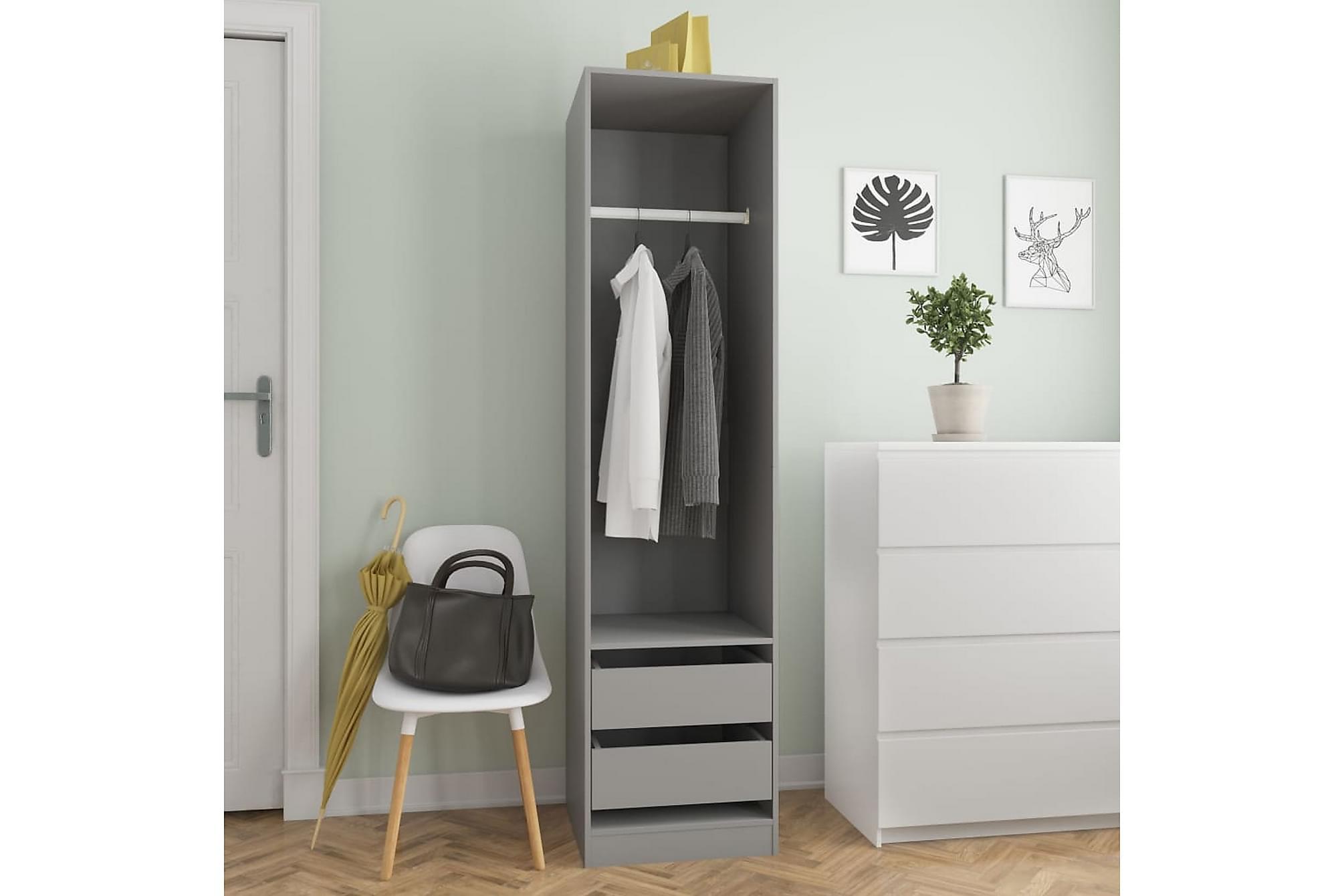 Garderob med lådor grå 50x50x200 cm spånskiva