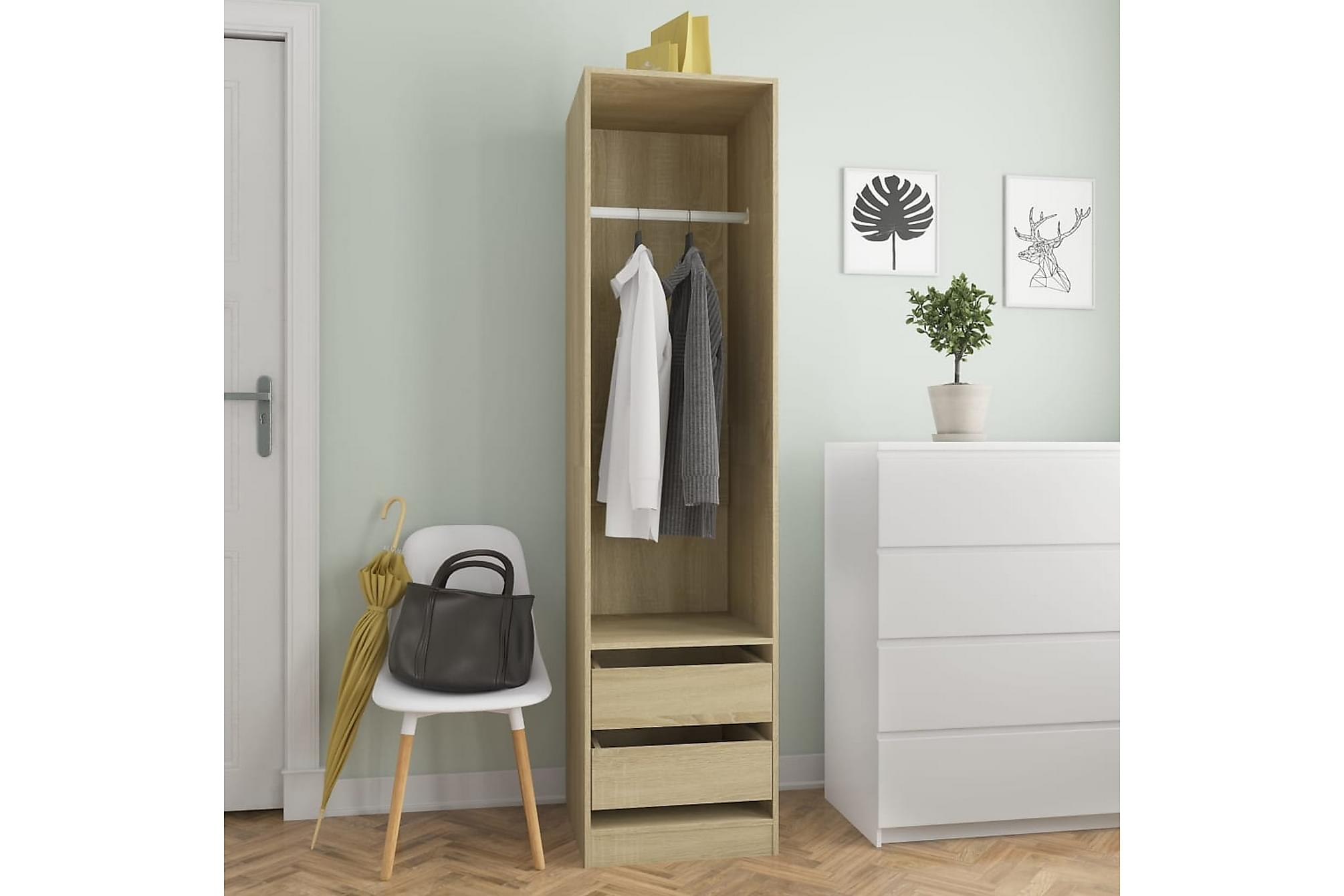 Garderob med lådor sonoma-ek 50x50x200 cm spånskiva