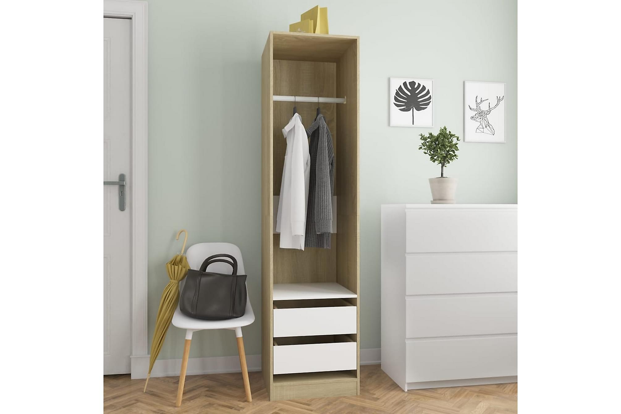 Garderob med lådor vit och sonoma-ek 50x50x200 cm spånskiva