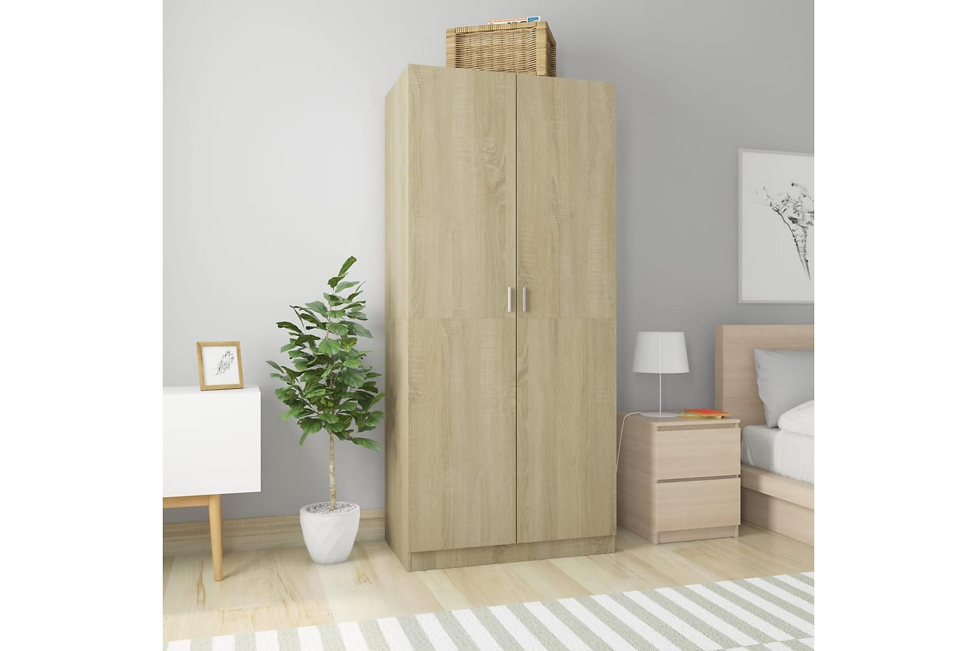 Garderob sonoma-ek 90x52x200 cm spånskiva