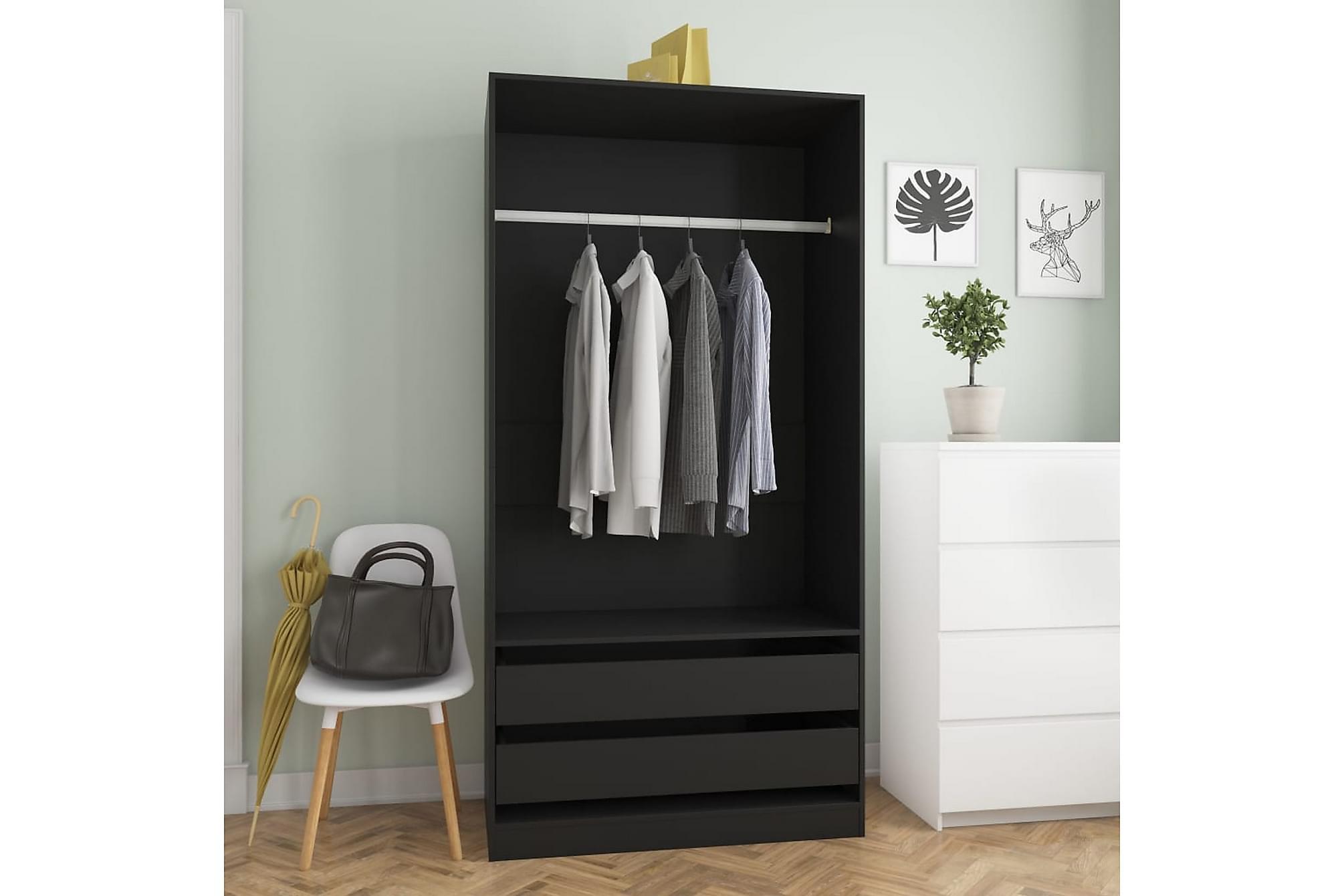 Garderob svart 100x50x200 cm spånskiva