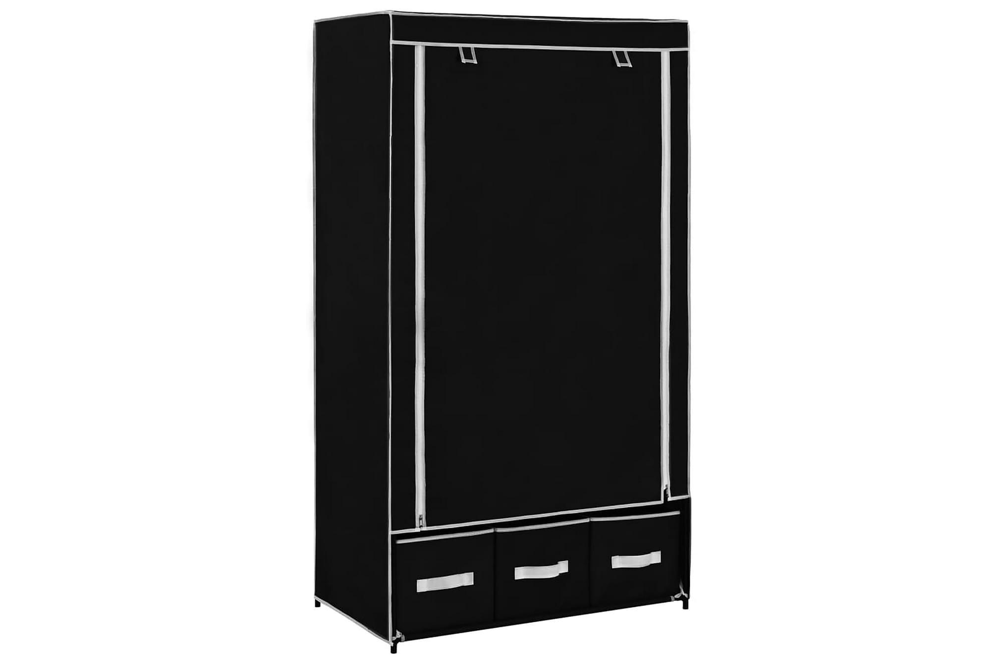 Garderob svart 87x49x159 cm tyg