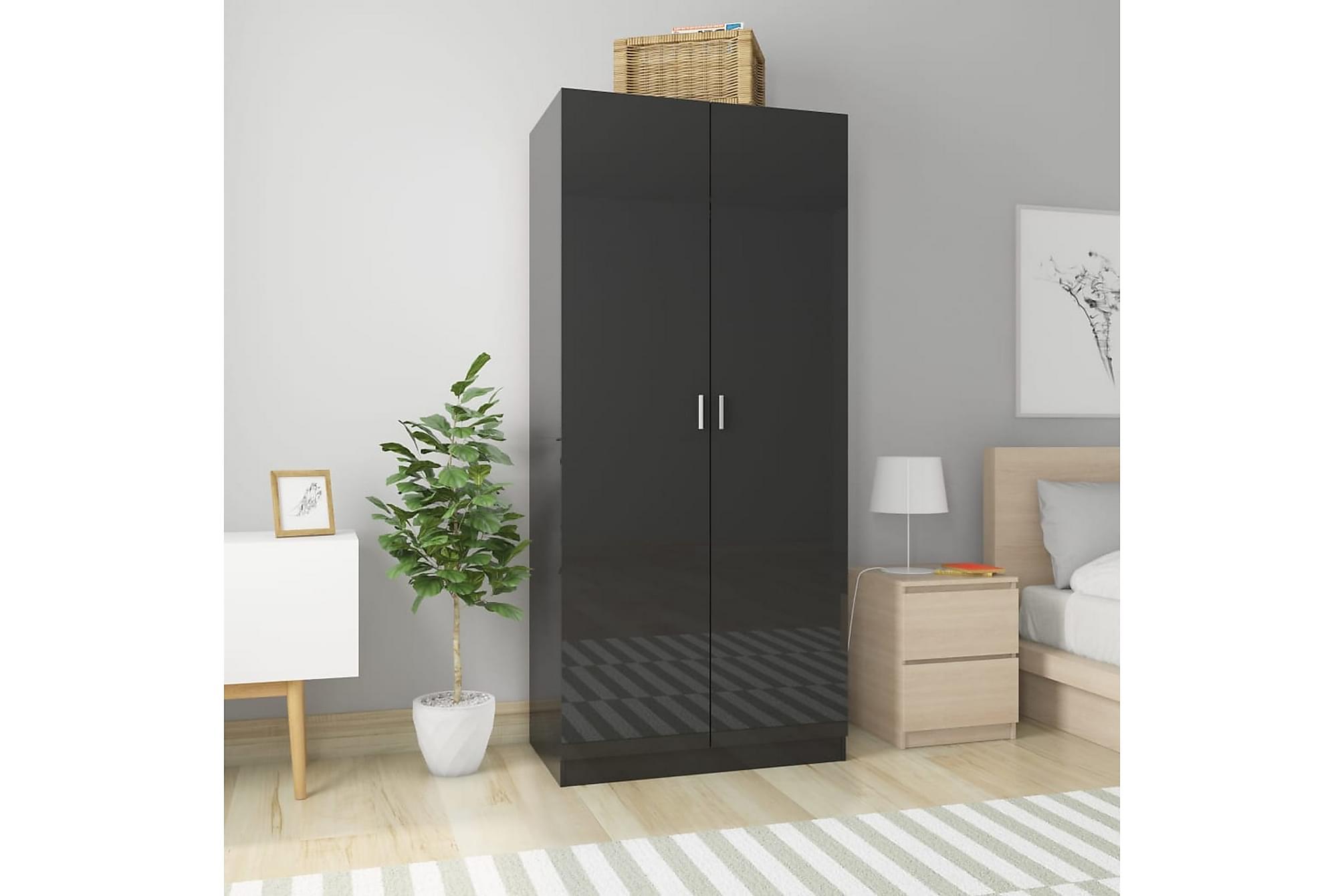 Garderob svart högglans 90x52x200 cm spånskiva