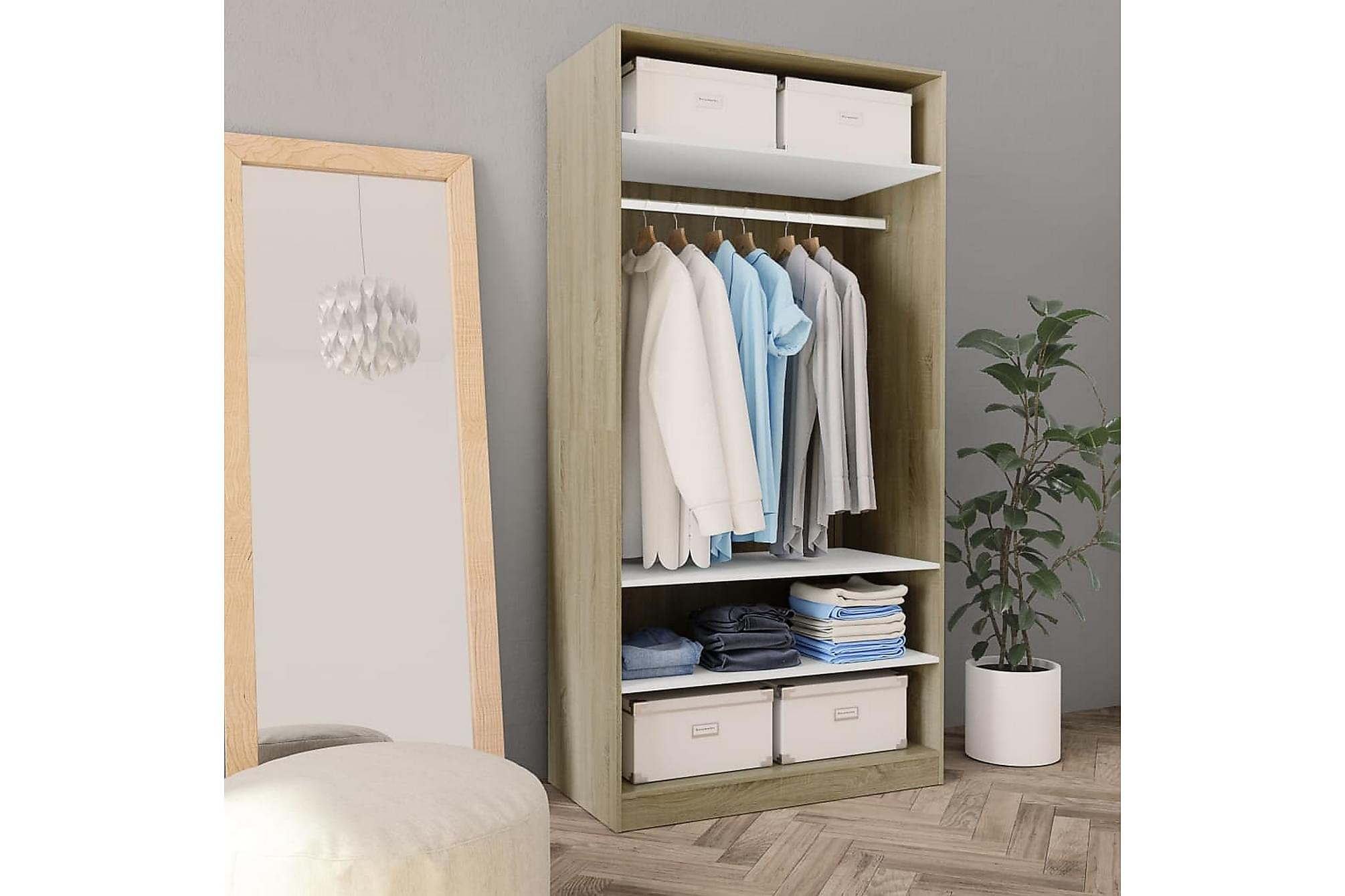 Garderob vit och sonoma-ek 100x50x200 cm spånskiva