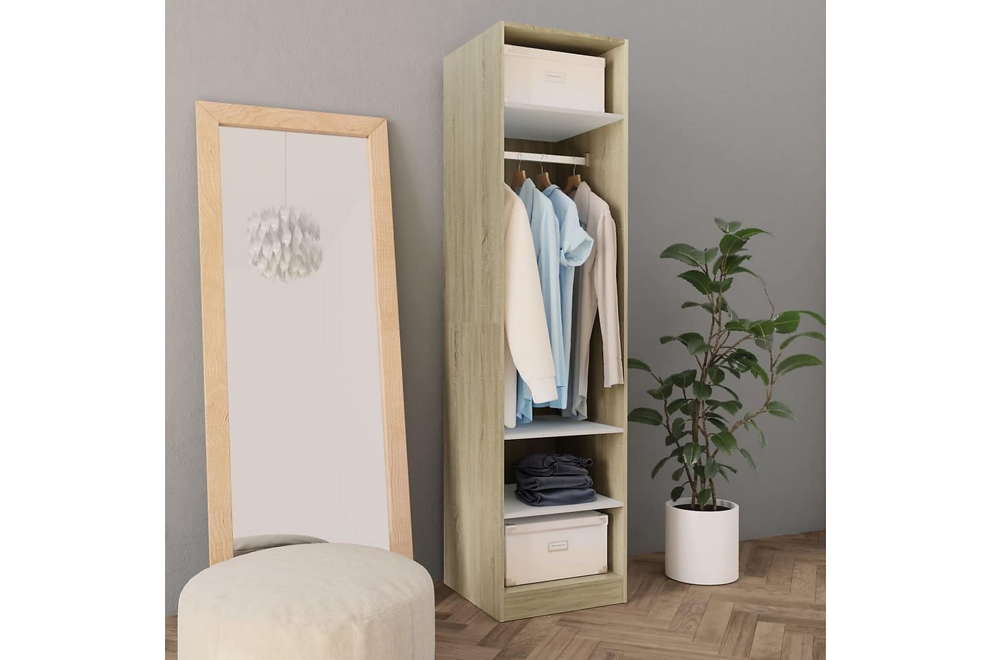 Garderob vit och sonoma-ek 50x50x200 cm spånskiva