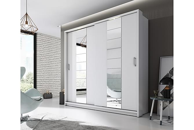 NADJA Garderob 215 LED-belysning 2 Skjutdörrar Vit - Möbler & Inredning - Förvaring - Garderober