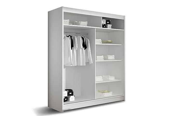POLLY Garderob 150 Skjutdörrar Rund Spegel Vit - Vit - Möbler & Inredning - Förvaring - Garderober
