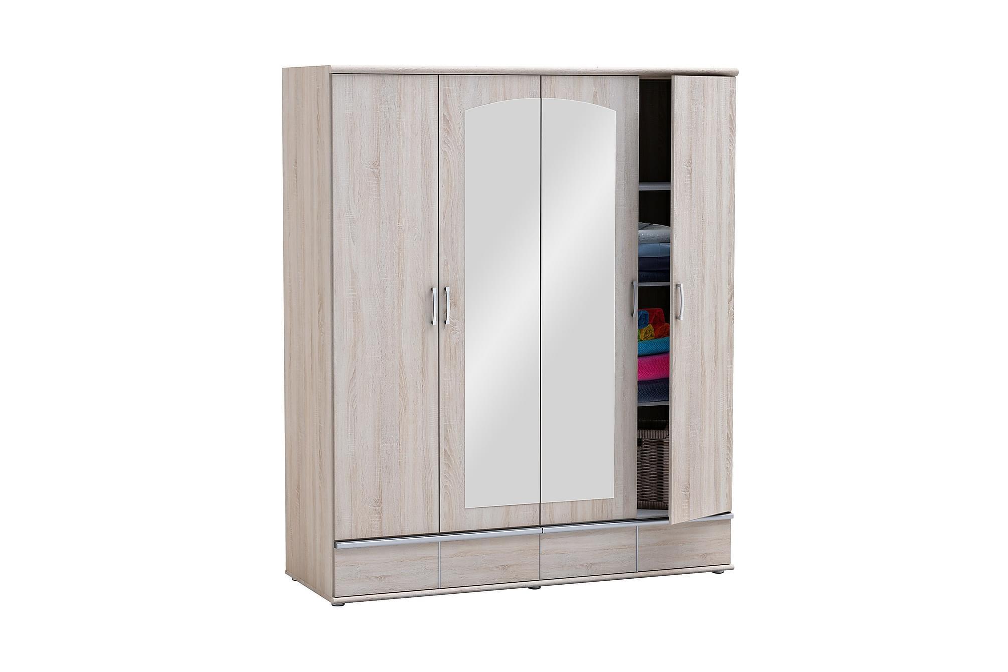 SQUARE Garderob 172 4 Dörrar Spegel Borstad Ek