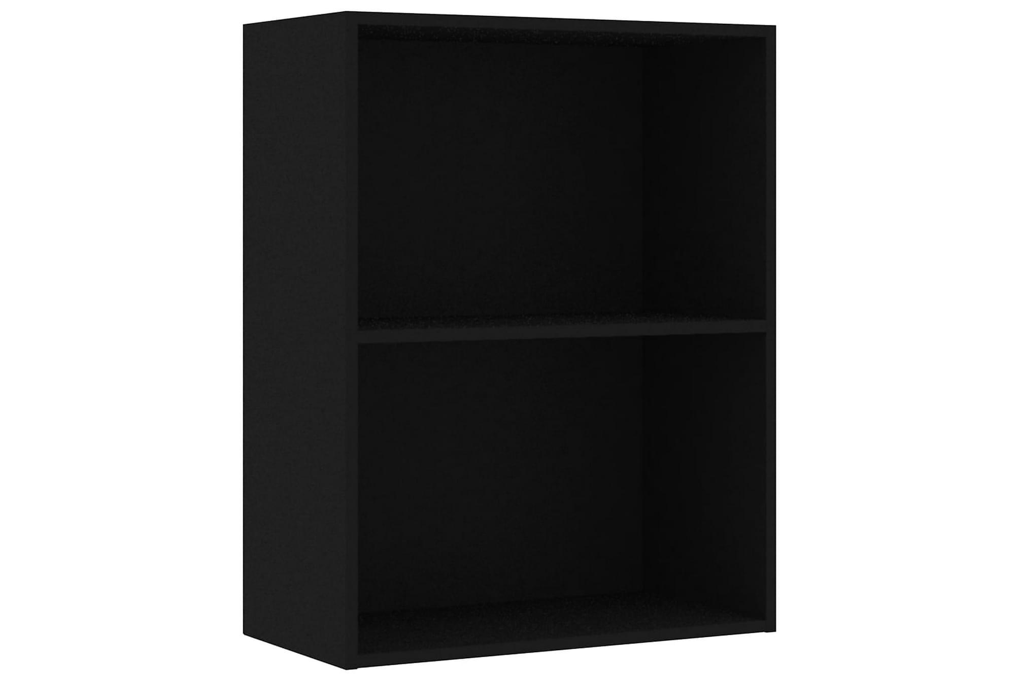 Bokhylla 2 hyllor svart 60x30x76,5 cm spånskiva