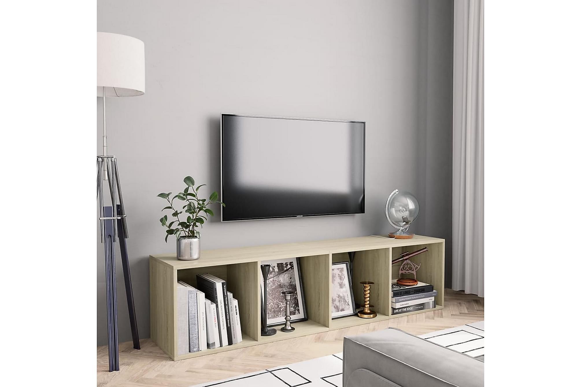 Bokhylla/TV-bänk sonoma-ek 143x30x36 cm