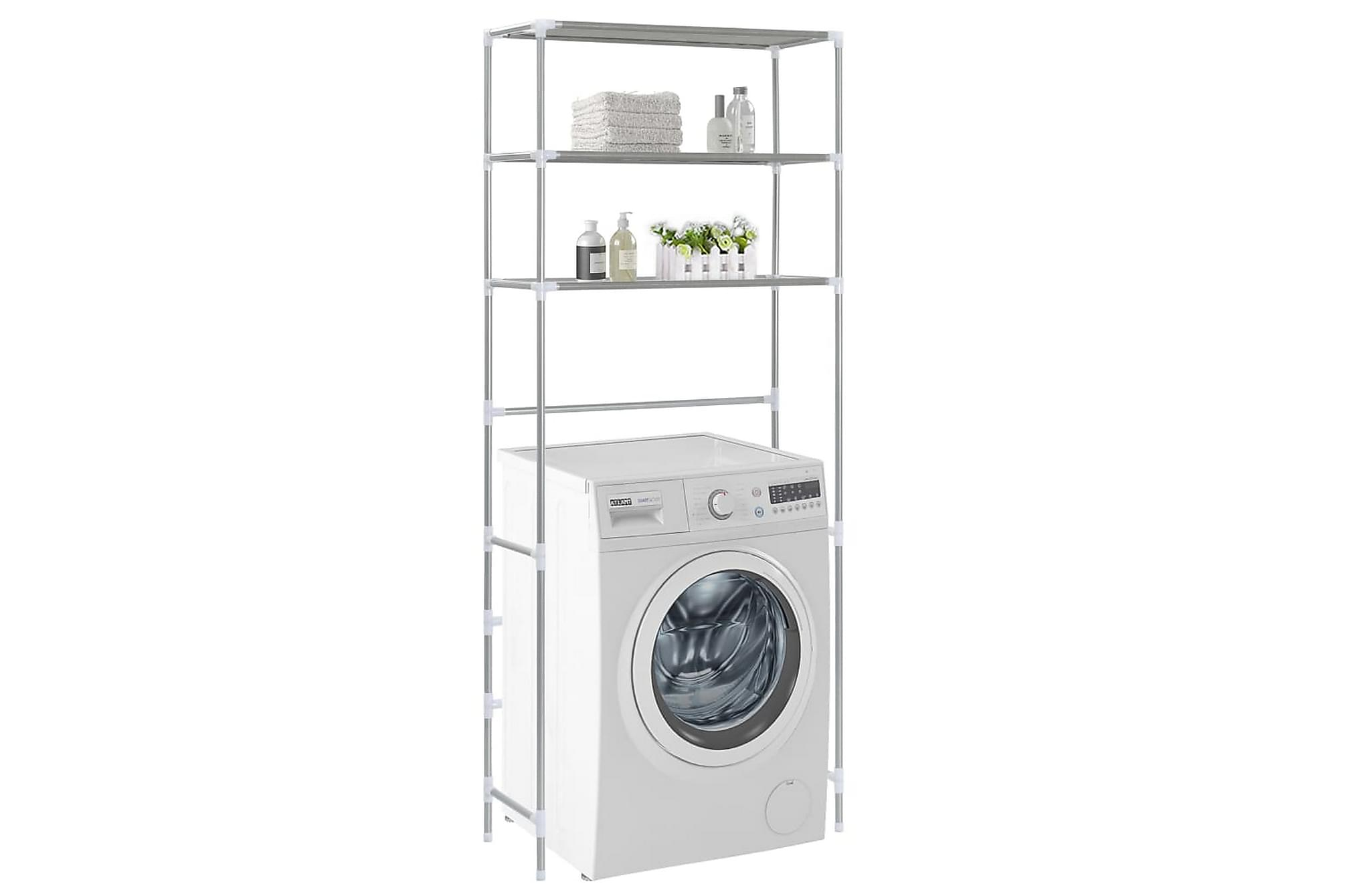 Hylla för tvättmaskin med 3 hyllplan silver 69x28x169 cm