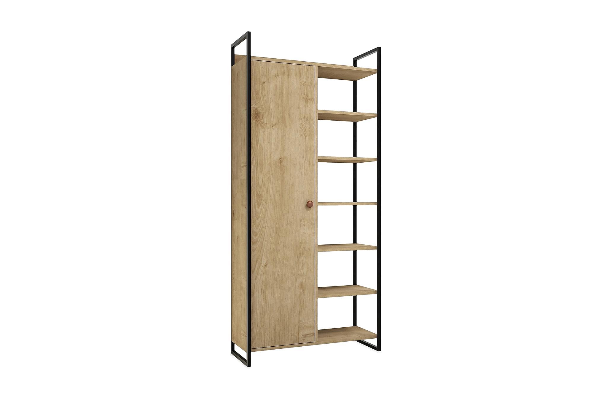 Refugia bokhylla med dörr svart/trä