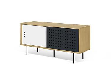 RHONDAVE TV-bänk 135 Vit/Ek/Svart