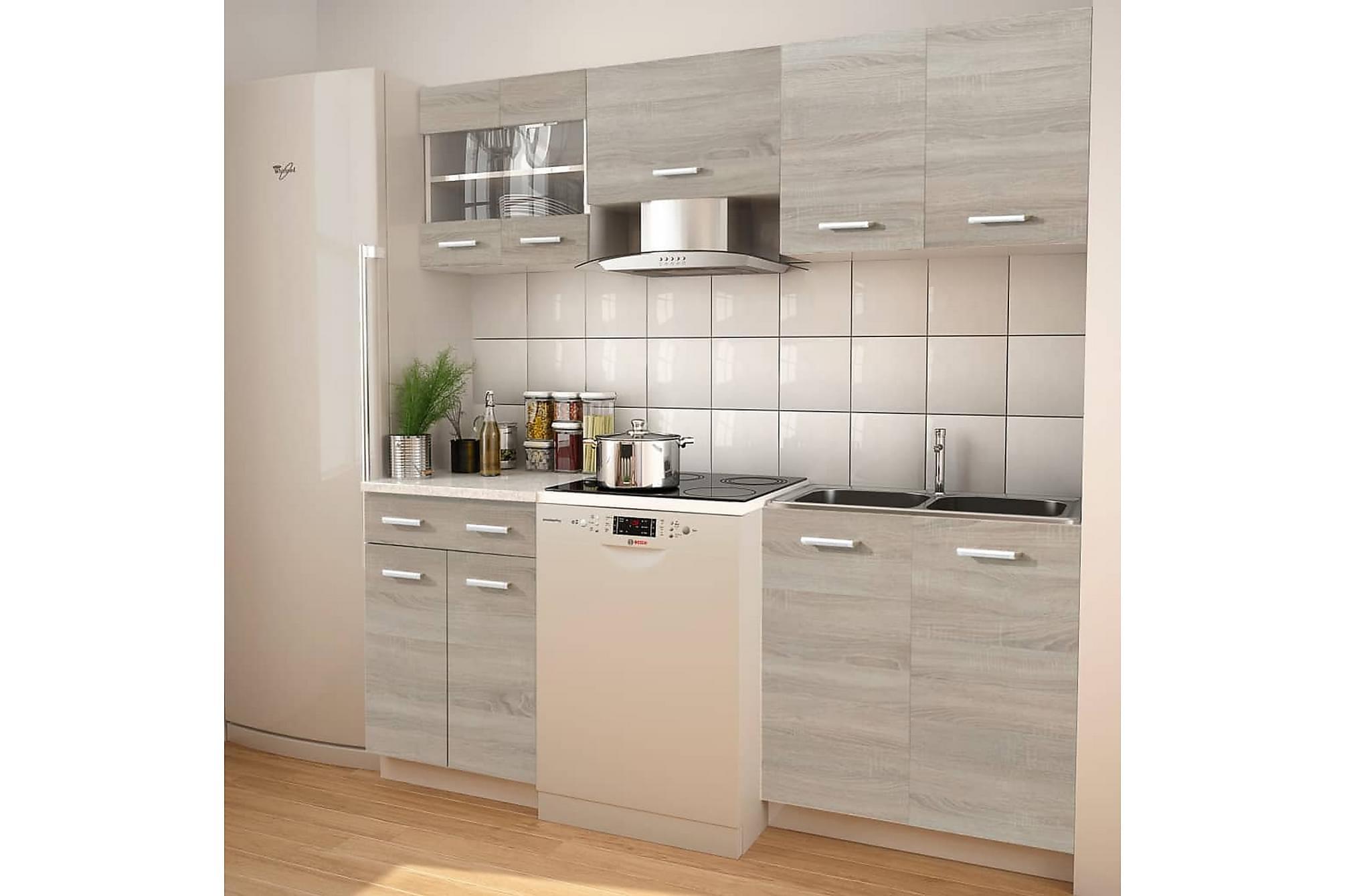 5 delars köksskåp set med köksfläkt ekimitation, Skåp