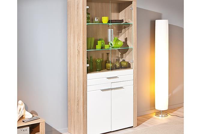 ABSOLUTO Vitrinskåp 93 Vit/Ljus Ek - Möbler & Inredning - Förvaring - Skåp