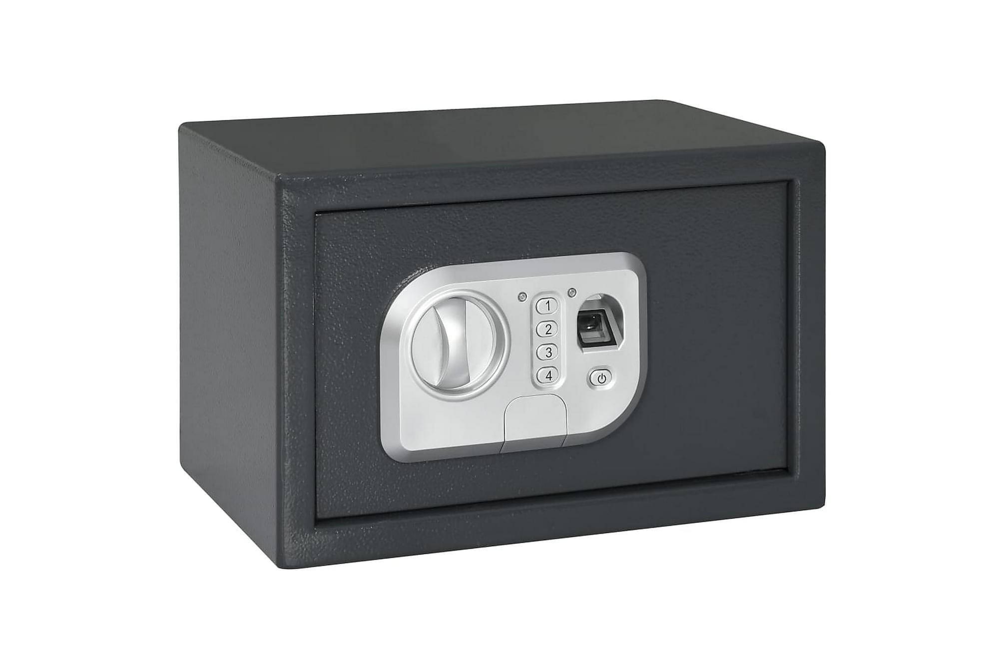Digitalt kassaskåp med fingeravtryck mörkgrå 31x20x20 cm