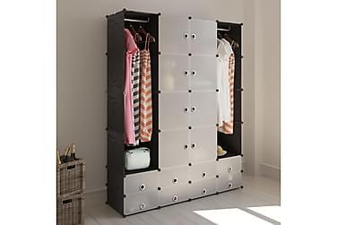 FÖRVARINGSSKÅP med 18 utrymmen svart och vit 37x146x180,5 cm