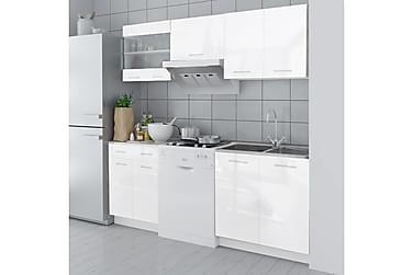 Köksskåp 5 delar 200 cm högglans vit