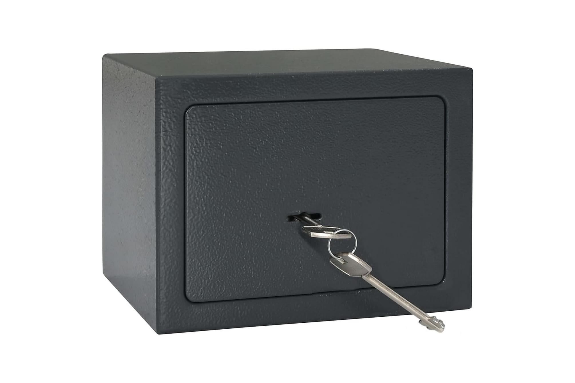 Mekaniskt kassaskåp mörkgrå 23x17x17 cm stål