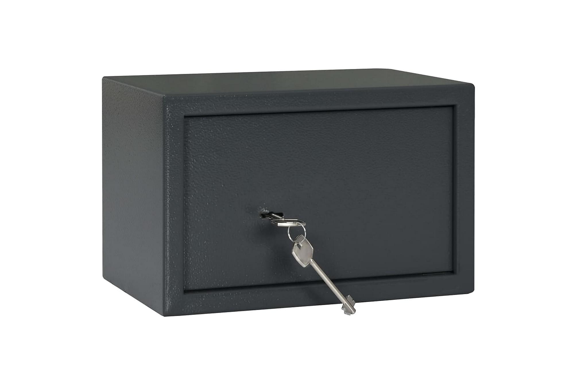 Mekaniskt kassaskåp mörkgrå 31x20x20 cm stål
