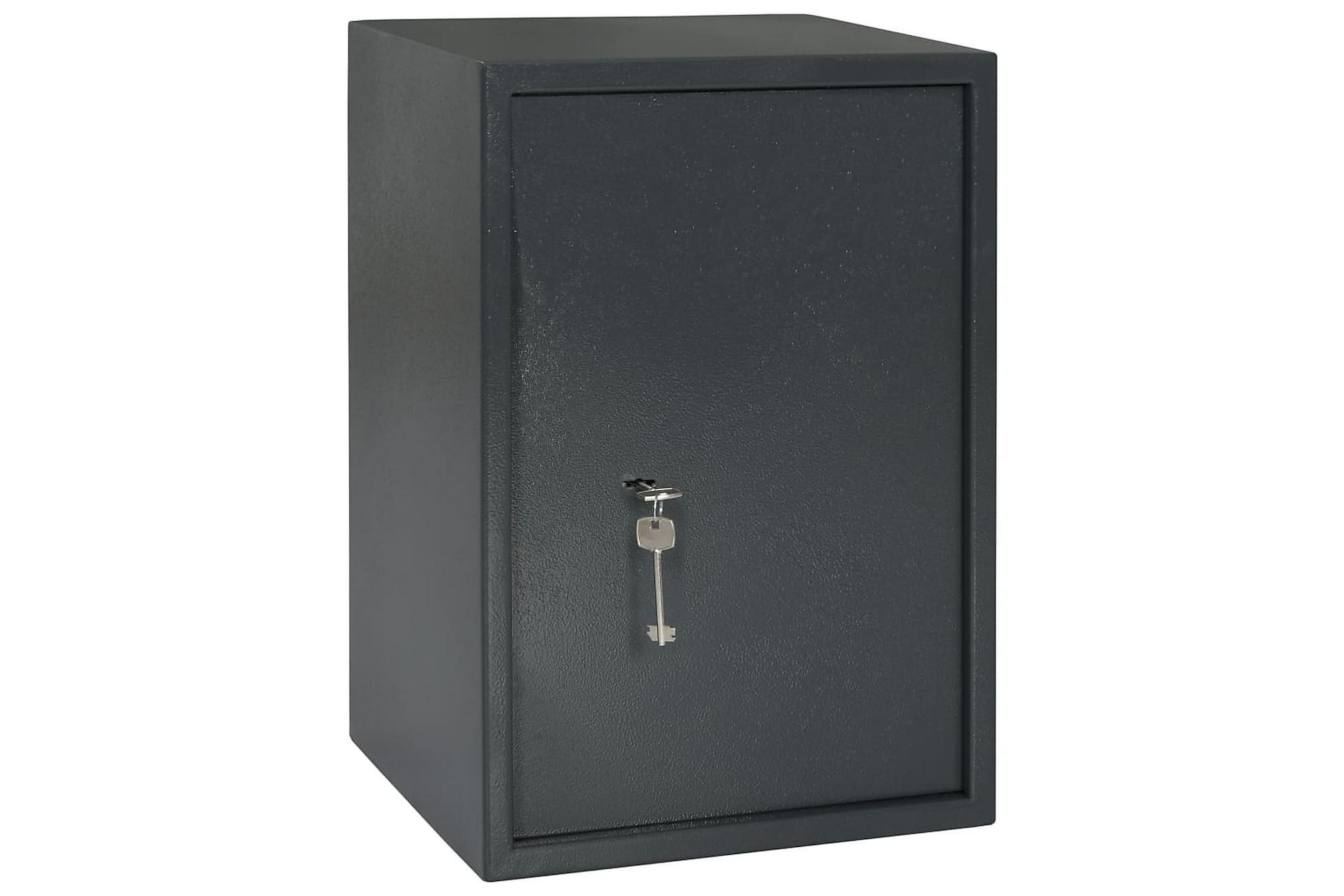 Mekaniskt kassaskåp mörkgrå 35x31x50 cm stål