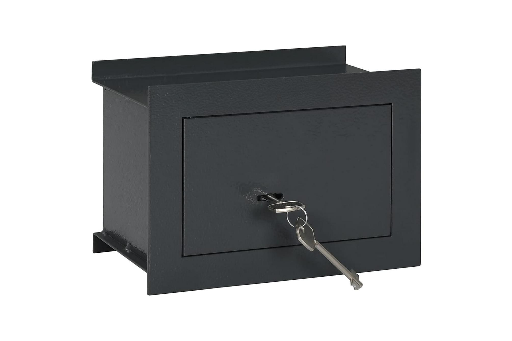 Väggkassaskåp mörkgrå 26x16x18 cm