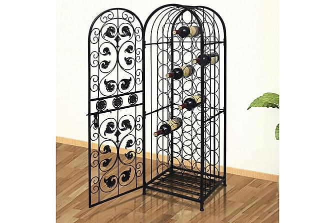 Vinställ för 45 flaskor metall - Svart - Möbler & Inredning - Förvaring - Skåp