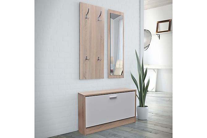 3-i-1 Skoskåp med spegel och hängare ek vit - Inomhus - Förvaring - Skoskåp