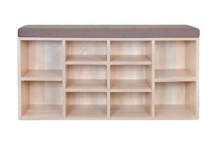 Skobänk med 10 hyllfack ek-färg - Brun - Möbler & Inredning - Förvaring - Skoskåp