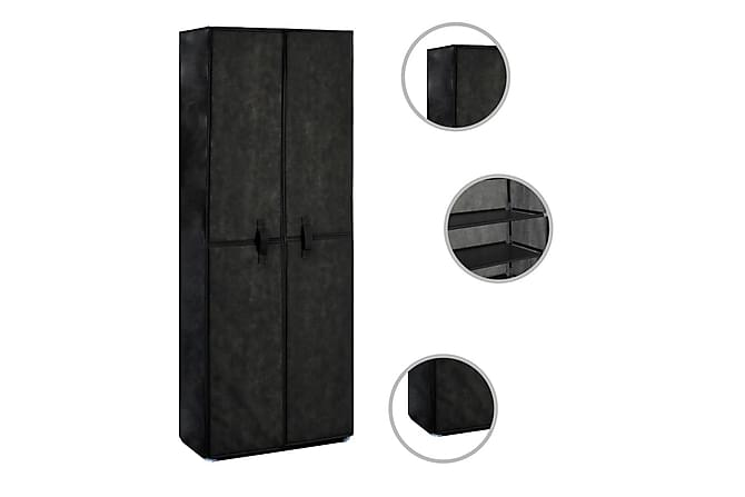 Skoförvaring 60x30x166 cm svart tyg - Svart - Möbler & Inredning - Förvaring - Skoskåp