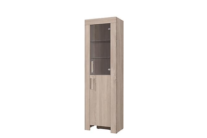 Cezar Vitrinskåp 60x42x201 cm - Beige|Grå - Möbler & Inredning - Förvaring - Vitrinskåp